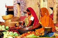 Market, vendors, market, stall, with, vegetables, Jaisalmer, India,