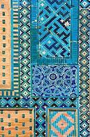 Mosaic, wall, Mausoleum, Usta, Ali, necropolis, Shahr-I-Zindah, Samarkand, Uzbekistan, Shahi, Sinda, architect, Usta, Ali, Nasaf,
