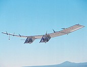 The Pathfinder solar_powered remotely piloted aircraft climbs to a record_setting altitude of 50,567 feet during a flight Sept. 11, 1995, at NASA´s Dr...