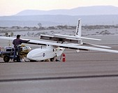 The Perseus A, a remotely_piloted, high_altitude research vehicle, is seen just after landing on Rogers Dry Lake at the Dryden Flight Research Center,...