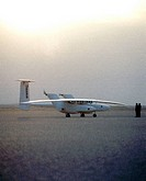 The Theseus prototype remotely_piloted aircraft RPA waits on the lakebed before its first test flight from NASA´s Dryden Flight Research Center, Edwar...