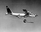 This photo illustrates how the X_15 rocket_powered aircraft was taken aloft under the wing of a B_52. Because of the large fuel consumption, the X_15 ...
