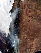 The smoke from several forest fires burning in a popular tourism area in the Chilean Andes south of Santiago had drifted far to the south of the fire ...