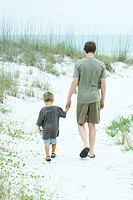 Teenage boy and little brother walking at the beach, holding hands, rear view