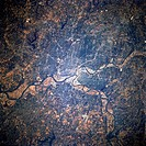 Metropolitan Kansas City and the confluence of the Missouri and Kansas Rivers near the downtown area are featured in this south_looking, low_oblique p...