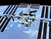 This artist´s concept shows the International Space Station when its assembly sequence is completed in 2004, including minor changes to the final stat...