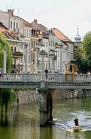 The Cobblers Bridge over The River Ljubljanica, Ljubljana. Slovenia
