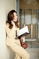 View of a businesswoman talking on a cellphone