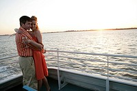 Couple embracing on a boat