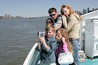Family sightseeing on a ferry