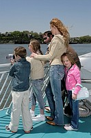 Family sightseeing on a ferryboat