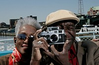 Mature couple with a classic camera