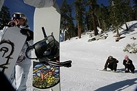 Woman on cellphone, couple in backgroud on a ski slope