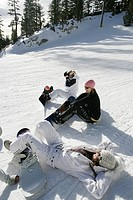 Three women sitting on a ski slope