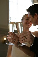 Mature married couple toasting with champagne