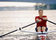 Man rowing a single scull