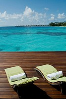 Two chairs Sea, Maldives, Indian Ocean