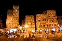 Sana´a old city at night, Unesco World Heritage Site, Yemen