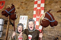 UK, England, Northumberland, Alnwick, Alnwick Castle, Harry Potter movie site, boys, brothers, Medieval knight costumes,