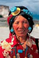 A portrait of Tibet woman
