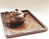 A photo of still life of Chinese traditional tea set