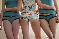 Cropped view of three young women in lingerie