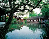 the traditional Chinese garden in Hangzhou city,Zhejiang Province,pool