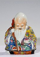 Color glaze God-of-Longevity-shaped porcelain artwear Qing Dynasty