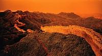 High angle shot of Jinshanling Great Wall at dusk,Beijing