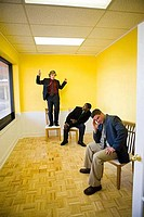 Businessmen in full suit enjoying in an office