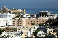 OMAN-Muscat-Walled City of Muscat: View of Mirani Fort and Government Buildings