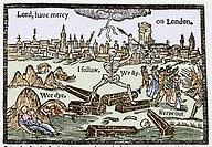 Plague in London. Title artwork from a 17th century pamphlet on the effects of the plague on London. This pamphlet, A Rod for Run_awayes, by Thomas De...