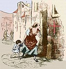 Plague quarantine. Artwork of a mother and child passing a quarantined house during a plague epidemic in medieval England. The red cross on the wall i...