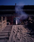 Puning Temple, Chengde, World Heritage, HebeiSheng, China, stairs, sculpture, censer, Temple, Main temple, July