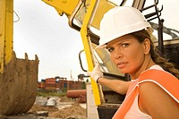 Portrait of a female construction worker looking serious (thumbnail)