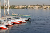 Boats berthed on the Nile