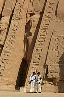 The Temple of Nefertari dedicated to Hathor _ Policemen in front of the temple