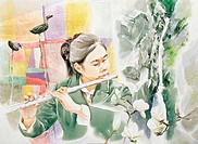 Water Color Painting,Woman Playing The Flute