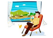 Illustration, a man relaxing at home