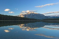 A calm morning at Two_Jack Lake looking towards Mount Rundle in Banff national park, Alberta, Canada.