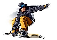 Illustration,snowboarding