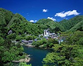 Blue sky Clouds River Water surface Green Mountain Kawaji Spa Fujiwara Tochigi Japan