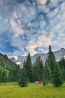 The Rockwall and Tumbling Glacier from Tumbling Creek Campsite, Rockwall Trail, Kootenay National Park, British Columbia, Canada