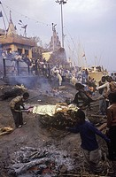 India, Varanasi, Manikarnika Ghat, the main burning ghat. Place of cremations on Ganges