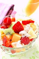 fruit salad with lychee granita