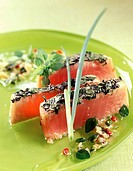 half_cooked tuna with herb crust