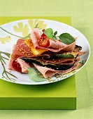 ham and grilled vegetable layer