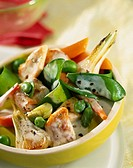 pan_fried chicken with baby vegetables