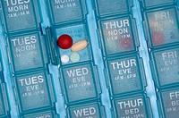 A senior citizen´s daily pill organizer.