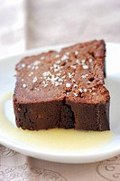 chocolate cake with melted salted butter